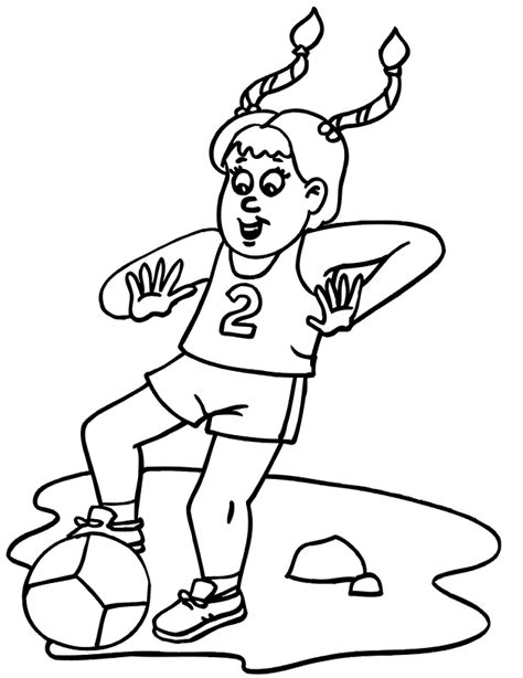 coloring pages of girl soccer players soccer coloring page young girl playing soccer