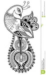 black and white peacock decorative ethnic drawing stock