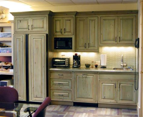 green kitchen cabinet green stained pine cabinets cabin ideas