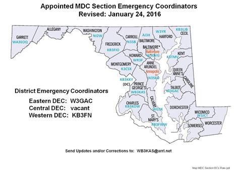arrl section arrl maryland dc section map of ecs