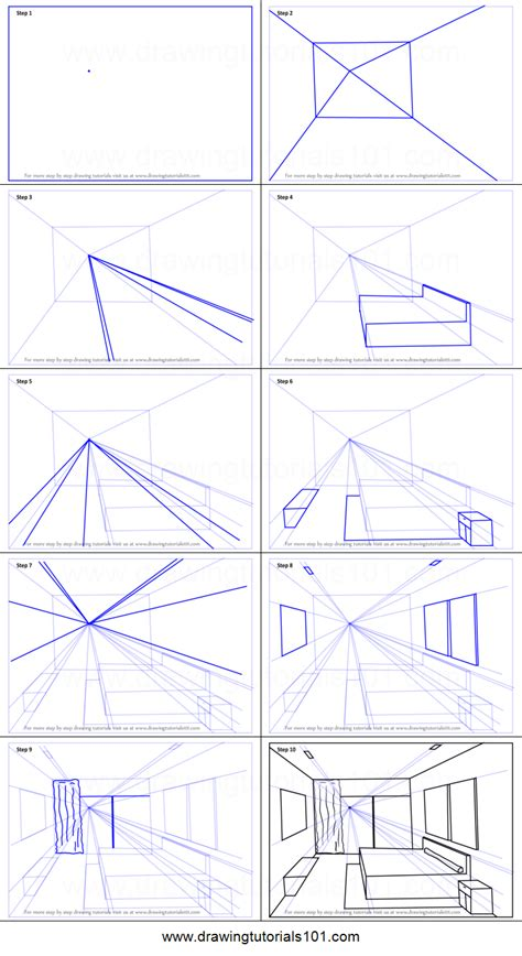 draw  point perspective bedroom printable step  step drawing sheet