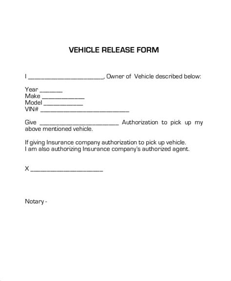 Release Letter Of Vehicles Sle Vehicle Release Form 9 Exles In Word Pdf