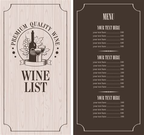 wine list templates wine menu list template vector material 10 vector cover