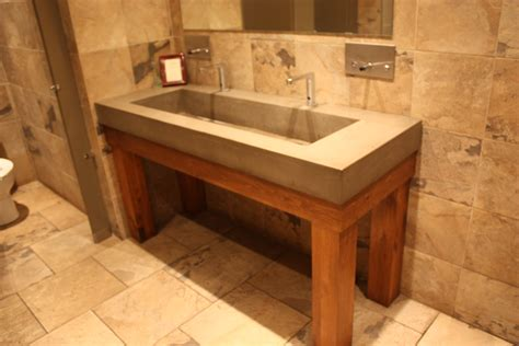 Ideas Design For Bathroom Trough Sink Bathroom Trough Sink With Concrete Sink And Granite Wall Plus Tile Flooring Also Wall Mirror