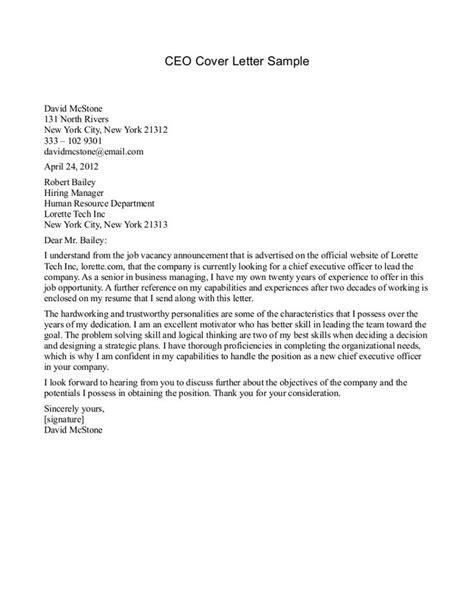 cover letter for cfo position ceo cover letter sle 194 187 ceo cover letter sle