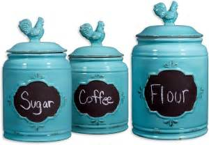 Kitchen Canister Rooster Blue Set Of 3 Ceramic Storage Canisters