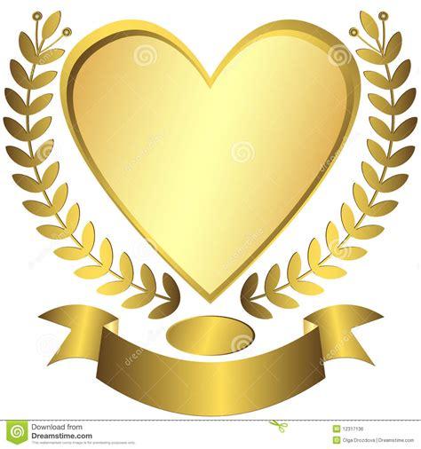 imagenes de corazones oro conceder coraz 243 n del oro con la cinta vector ilustraci 243 n