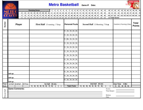Basketball Score Sheet Template Excel by Search Results For Basketball Score Sheet Template