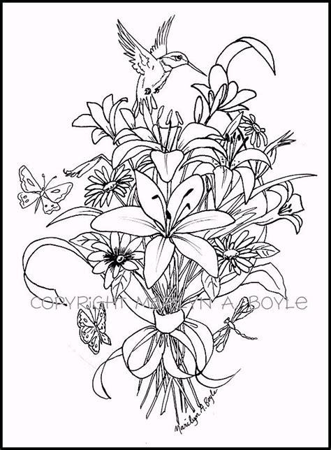adult coloring page digital  bouquet  flowers