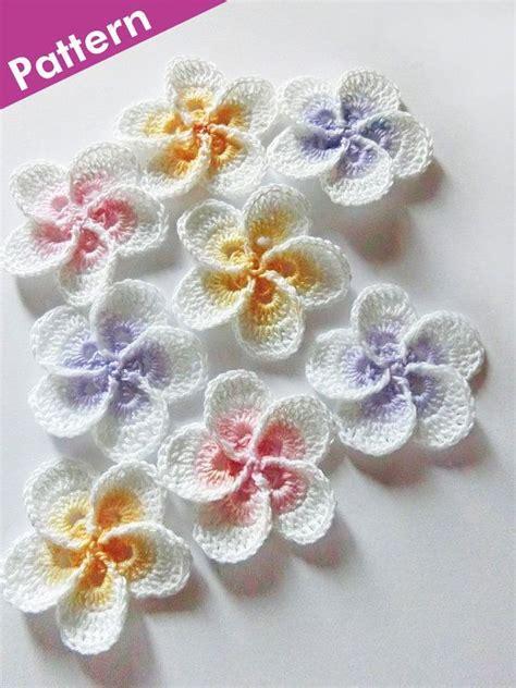 crochet pattern flower applique crochet plumeria flower pattern frangipani crochet photo