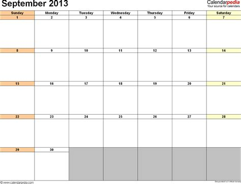 Calendar September 2013 September 2013 Calendar Free Templates For Word Excel Pdf