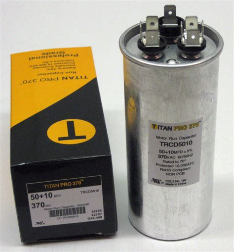 dual capacitor motor titanpro trcd5010 hvac dual motor run capacitor 50 10 mfd uf 370 volts ebay