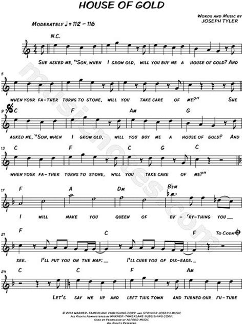 house of gold sheet music c major twenty one pilots and twenty one on pinterest