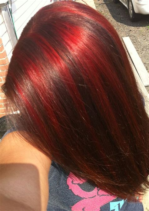 hairstyles with brown hair and red highlights red highlights brown hair love hair pinterest