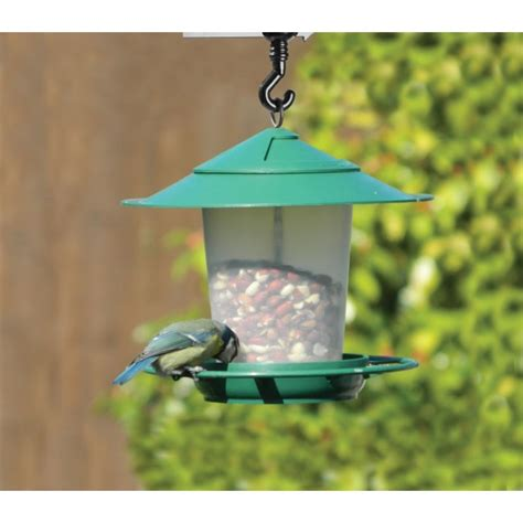 lantern bird seed nut feeder green