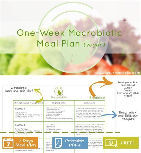 free printable vegan recipes one week macrobiotic meal plan vegan meals vegans and