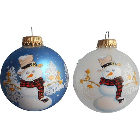 vintage krebs glass christmas tree ornaments 2 snowmen