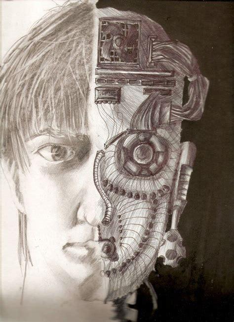 Half Human Half Robot Drawing half human half robot drawings 4 different sketches