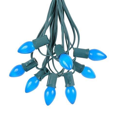 c7 blue light strings 100 vintage blue ceramic c7 light set on green wire novelty lights inc