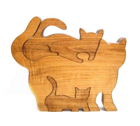 Handmade Puzzles - vintage wood puzzle handmade cat kitten