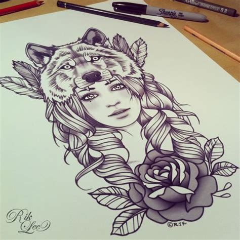 tattoo girl and wolf wolf girl tattoo pinterest wolves tattoo and first