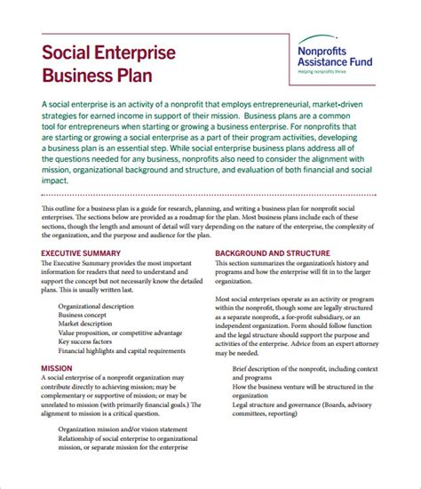business plan template social enterprise non profit business plan template 21 free word pdf
