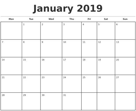 printable monthly calendar week starts monday january 2019 monthly calendar template