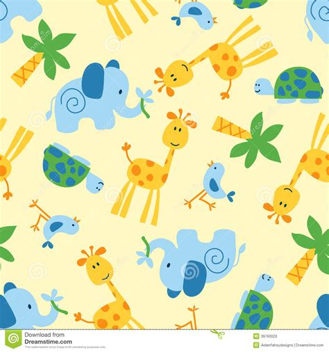 Seamless Pattern Animals | cute wild animals seamless pattern stock vector image