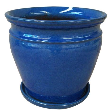 Ceramic Urn Planter by 15 In Dia Blue Ceramic Urn Planter Db15 Db The Home Depot