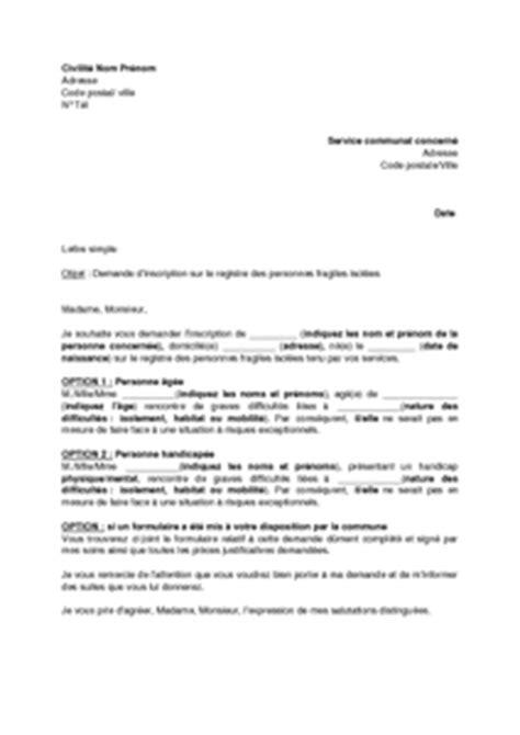 Demande De Lettre D Inscription Lettre De Demande D Inscription Sur Le Registre Des Personnes Fragiles Isol 233 Es 224 La Demande D