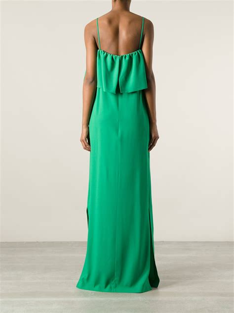 c section gown msgm ruffle top flap dress in green lyst