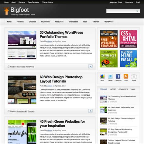 blogger themes adapted from wordpress theme junkie bigfoot theme review best