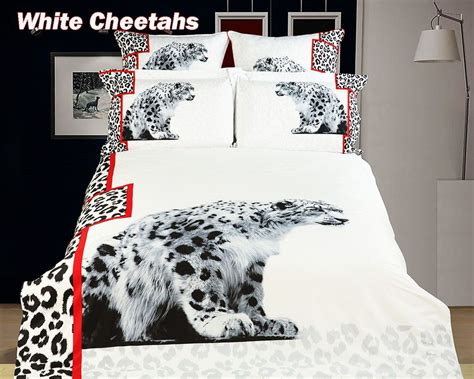 white heavens snow leopard print comforter set