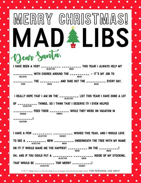 printable holiday mad libs christmas mad libs printable happiness is homemade