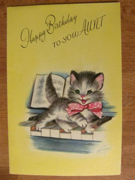cards cat vintage rust craft birthday card cat on a piano kitten