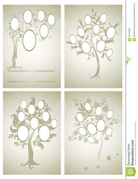 Vector Set Of Family Tree Designs Stock Vector Image 45701688 Vector Family Tree Design With Frames And Autumn Leafs Place For Text