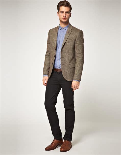 Do You Wear As Outerwear by Asos Asos Slim Fit Herringbone Blazer In Brown In Brown