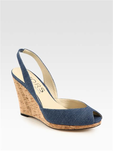 denim wedge sandals kors by michael kors denim slingback cork wedge