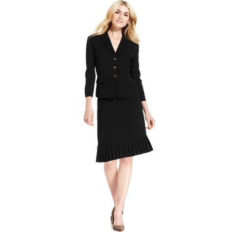 tahari taharai by asl pleated skirt suit in black lyst