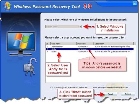 windows reset password tool forgot windows 7 password