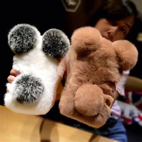 cute panda iphone  real rabbit hair case  iphone        winter warm phone