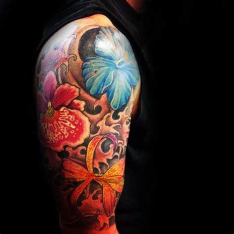 hibiscus quarter sleeve tattoo 80 hibiscus tattoo designs for men flower ink ideas