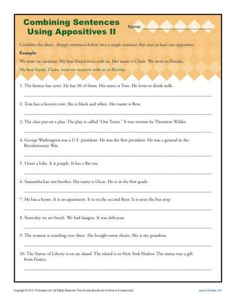 Combining Sentences Worksheet by Combining Sentences With Appositives Ii Appositive