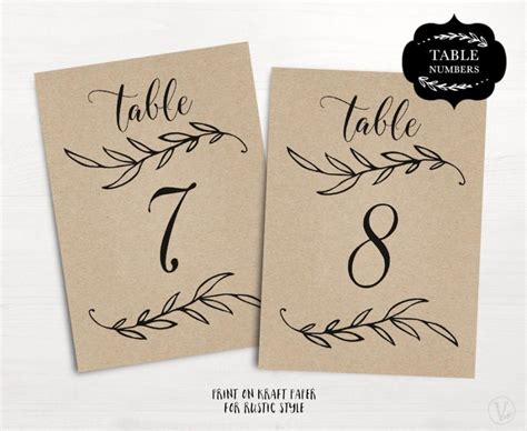 Wedding Table Numbers 1 40 Rustic Wedding Table Numbers Template Flat Reserved And Head Free Table Number Templates