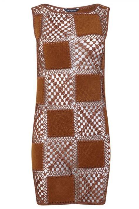 pattern leather dress crochet leather dress