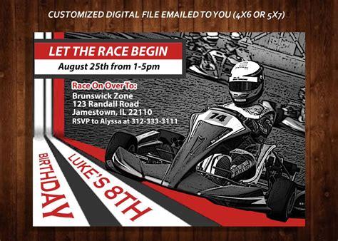 go templates racing themed birthday invitation gokart
