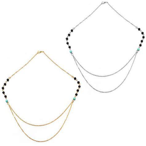cadenas de plata dobles oro plata capas dobles delgadas cadenas borla collar