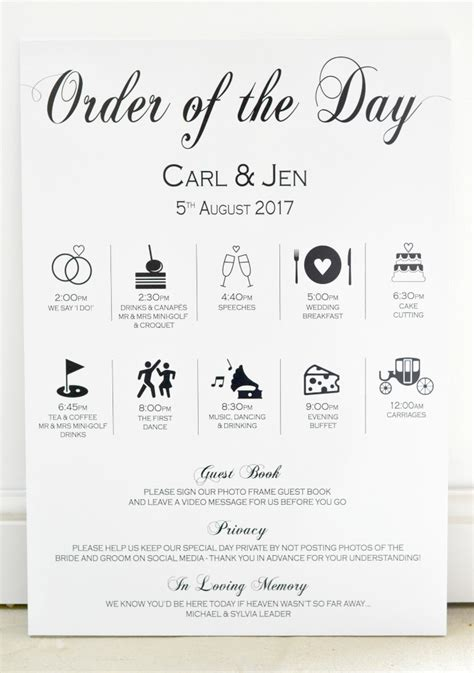 timeline for ordering wedding invitations wedding timeline order of day sign