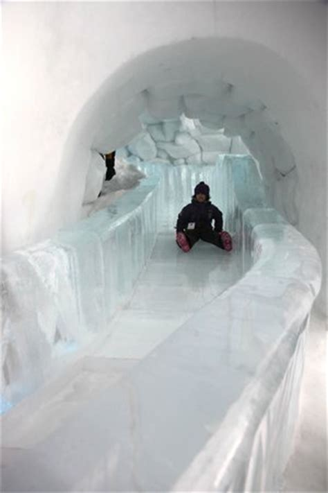 ice hotel quebec bathroom ice slide for young and old picture of hotel de glace