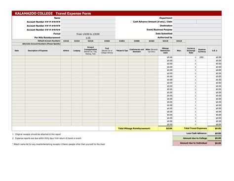 effective blank travel expense report template sle v